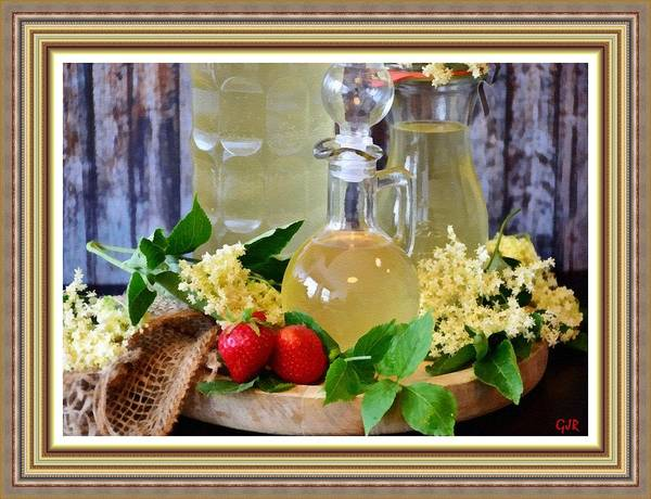 Syrup Digital Art - Still Life With Three Lemon Syrup Decanters  L  A S With Ornate Printed Frame. by Gert J Rheeders