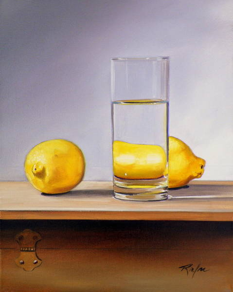 Still Life With Two Lemons And Glass Of Water Art Print