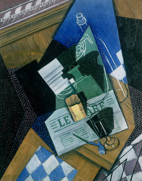 Newspaper Painting - Still Life With Water Bottle, Bottle And Fruit Dish, 1915 by Juan Gris