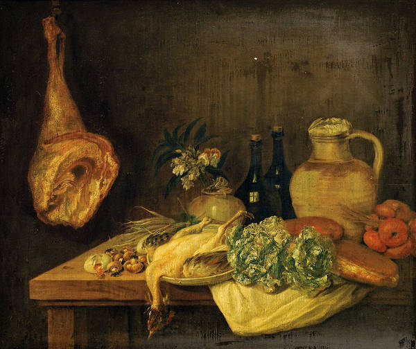 Cabbage White Painting - Still Life With White Cabbage Poultry And Bottles Of Wine On A Ledge by Attributed to Michel Honore Bounieu