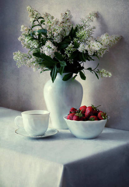 Wall Art - Photograph - Still Life With White Privets And Fresh Strawberries by Jaroslaw Blaminsky