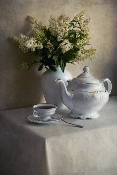 Still Life With White Tea Set And Bouquet Of White Flowers Art Print