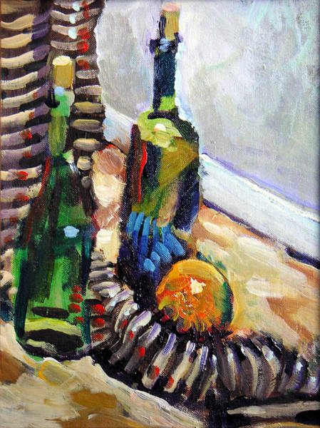 Wall Art - Painting - Still Life With Wine Bottles by Piotr Antonow