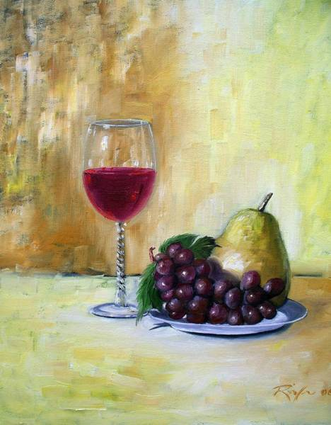 Still Life With Wine, Pear And Grapes Art Print
