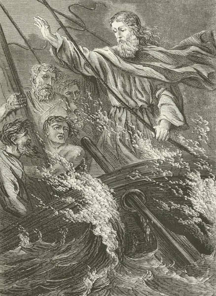 Gospel Drawing - Stilling The Tempest  by English School
