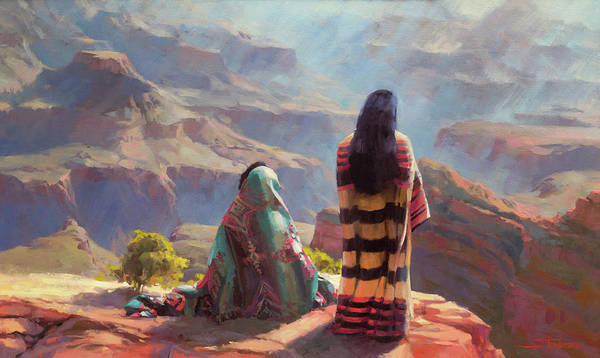 American Indians Painting - Stillness by Steve Henderson