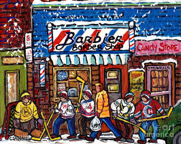 Photograph - Stilwell's Candy Stop Winterscene Painting For Sale Montreal Hockey Art C Spandau Snowy Barber Shop by Carole Spandau