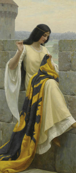 Wall Art - Painting - Stitching The Standard by Edmund Leighton