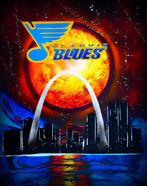 St Louis Arch Painting - Stl Blues  Darkened by Justin Moore
