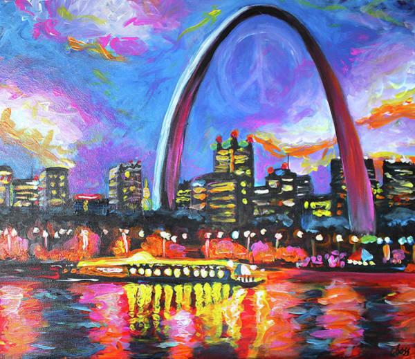 Gateway Arch Painting - Stl Love II by Carol Boss