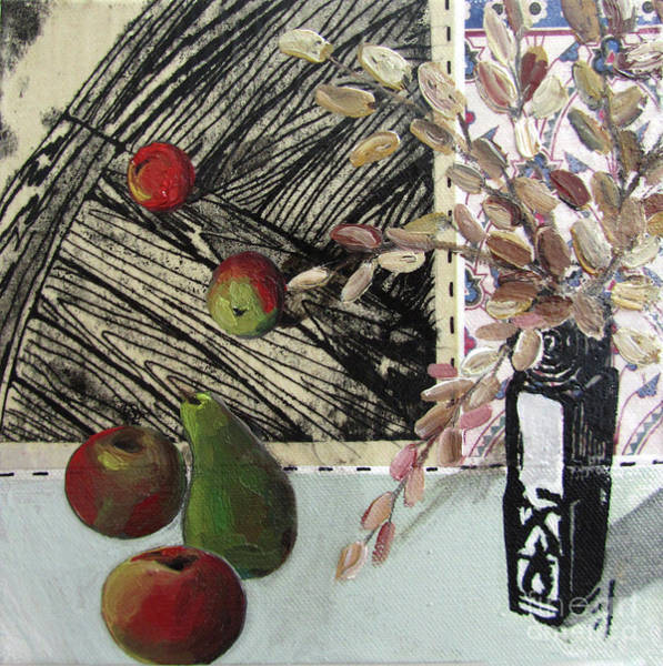 Wallpaper Mixed Media - Stll Life With Pear Apples And Vase by Peter Allan