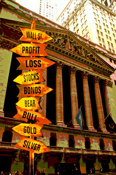 Stock Photograph - Stock Exchange And Signs by Garry Gay