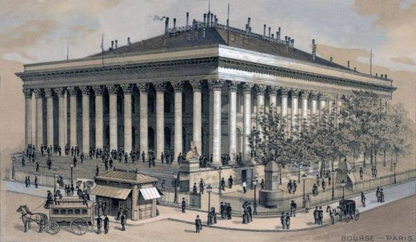 Capitalism Wall Art - Photograph - Stock Exchange In Paris, France, 1886 by Everett