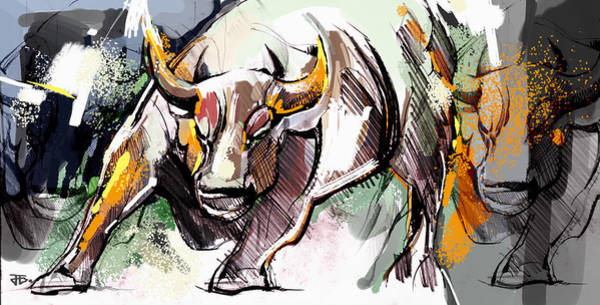 Painting - Stock Market Bull by John Jr Gholson