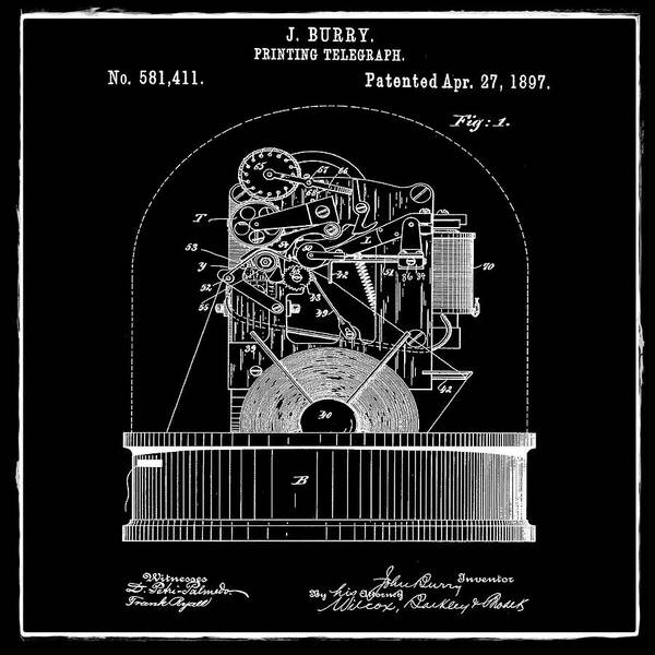 Photograph - Stock Ticker Patent 1897 Black by Digital Reproductions