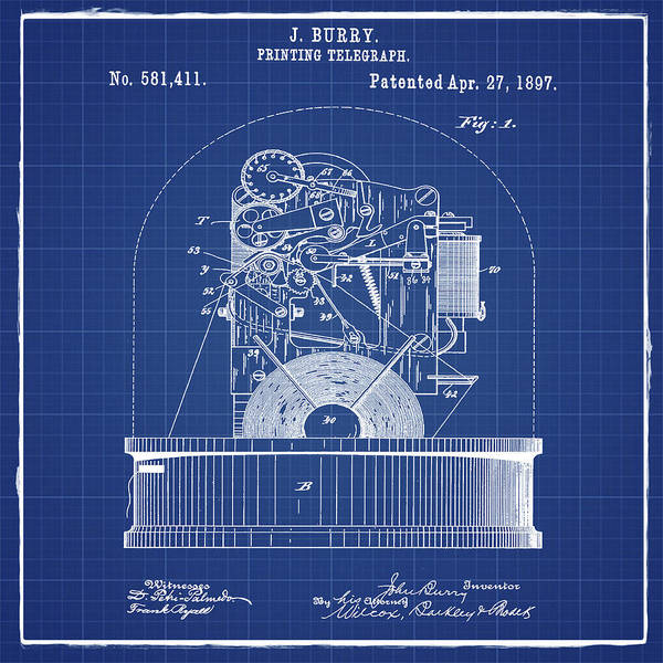 Photograph - Stock Ticker Patent 1897 Blue Print by Digital Reproductions