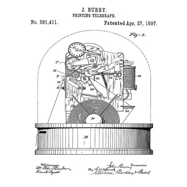 Photograph - Stock Ticker Patent 1897 by Digital Reproductions