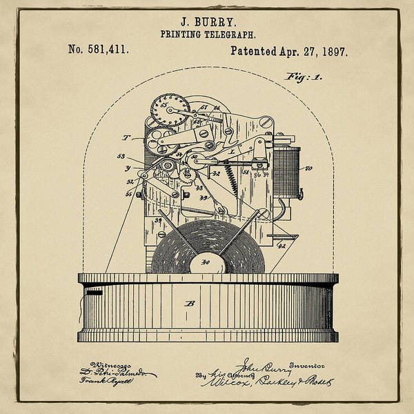 Photograph - Stock Ticker Patent 1897 Sepia by Digital Reproductions