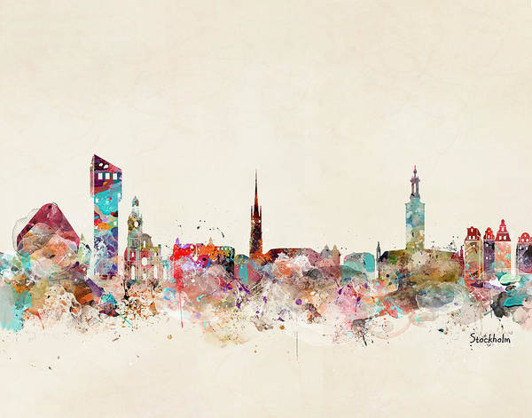 Wall Art - Painting - Stocklholm Sweden Skyline by Bri Buckley
