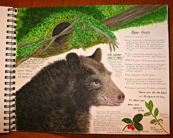 Painting - Stockton Journal Bear Page by Polly Castor