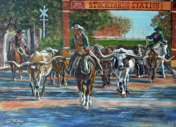 Longhorn Painting - Stockyards Longhorns by Dan Spangler
