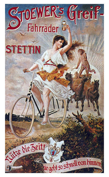 Wall Art - Mixed Media - Stoewer's Greif Fahrrader - Bicycle - Vintage Advertising Poster by Studio Grafiikka
