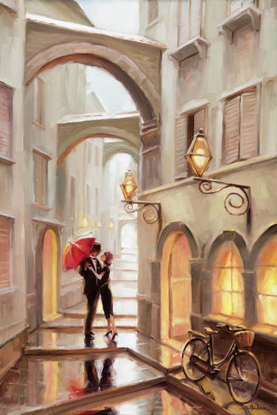 Village Painting - Stolen Kiss by Steve Henderson