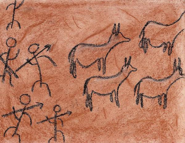 Pastel - Stone Age Hunt by M Valeriano