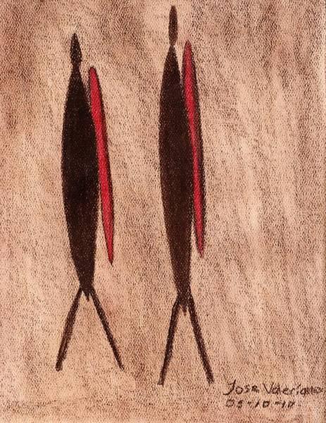Pastel - Stone Age Men by M Valeriano