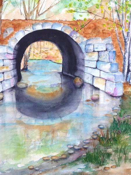 Wall Art - Painting - Stone Arch Bridge Dunstable by Carlin Blahnik CarlinArtWatercolor