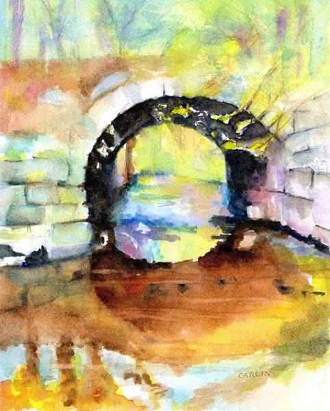 Wall Art - Painting - Stone Arch Bridge Early Autumn Colors by Carlin Blahnik CarlinArtWatercolor