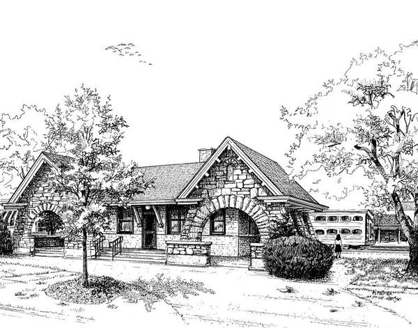 Drawing - Stone Ave. Train Station by Mary Palmer