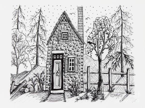 Ink Pen Drawing - Stone Cottage by Karla Gerard