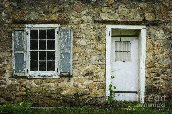 Photograph - Stone Cottage With Blue Shutters by Debra Fedchin
