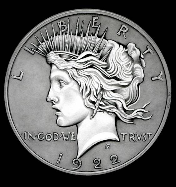 Drawing - Stone Face Peace Dollar by Fred Larucci