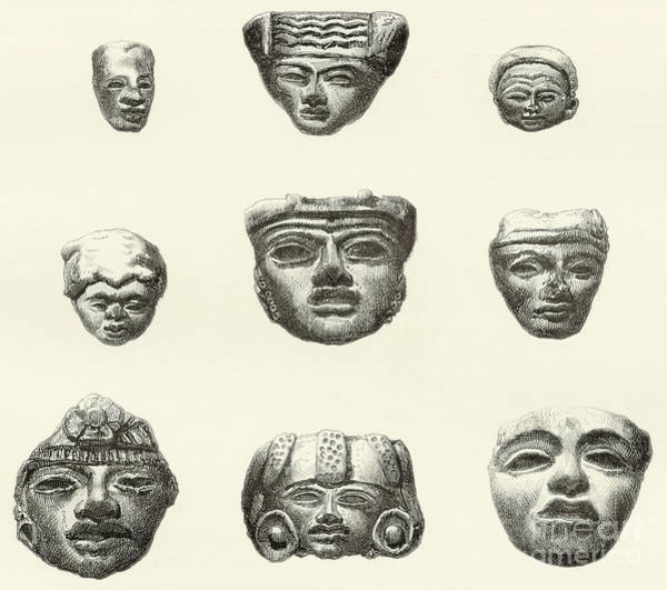 Wall Art - Drawing - Stone Heads And Masks Found At Teotihuacan, Mexico by Spanish School
