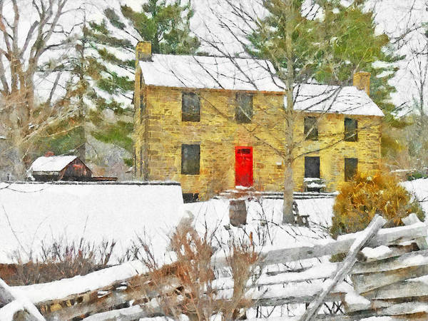 Digital Art - Stone House At The Oliver Miller Homestead In Winter by Digital Photographic Arts