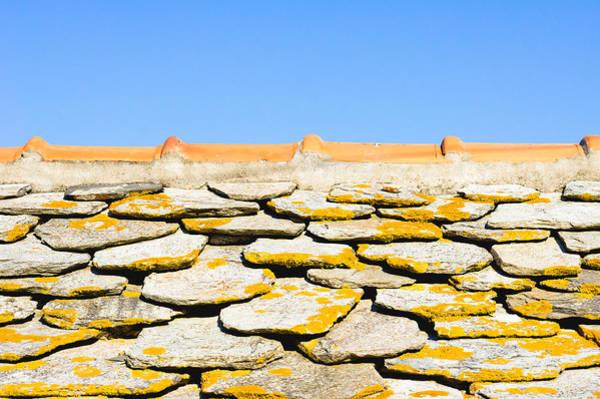 Orange Lichen Photograph - Stone Roof by Tom Gowanlock
