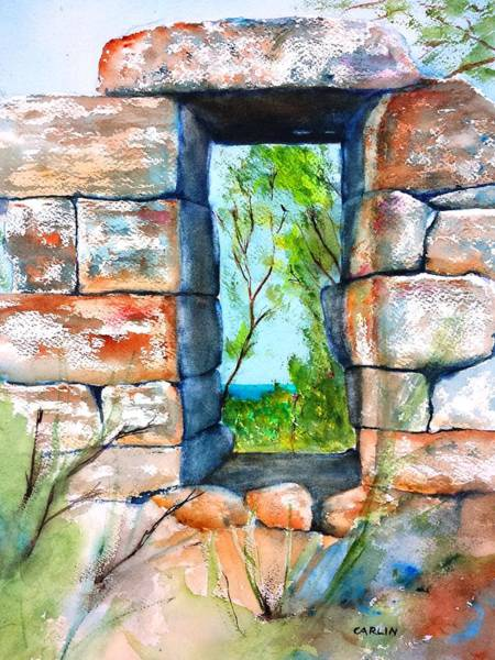 Archway Painting - Stone Ruins Doorway by Carlin Blahnik CarlinArtWatercolor