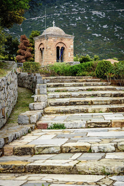 Photograph - Stone Stair Walkway At Moni Osios Loukas In Distomo, Greece by Global Light Photography - Nicole Leffer