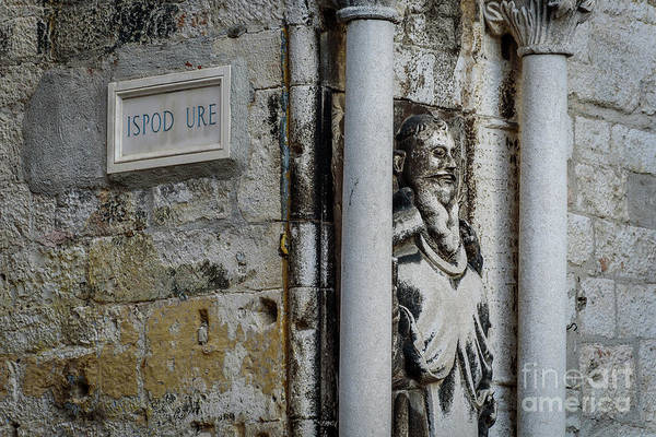 Photograph - Stone Street Sign And Statue In Split, Croatia by Global Light Photography - Nicole Leffer