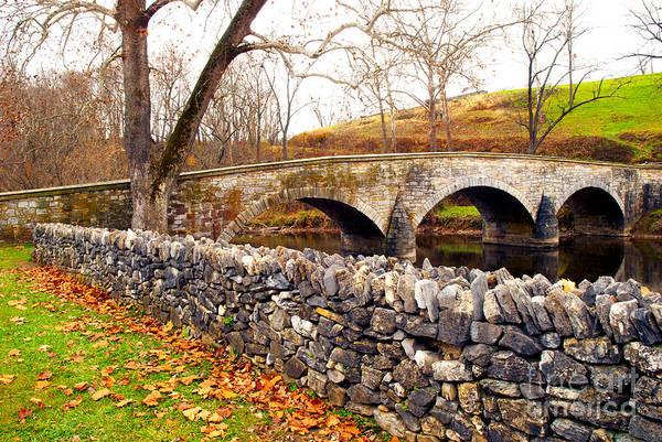 Burnside Bridge Photograph - Stone Wall At Burnside Bridge by Paul W Faust - Impressions of Light