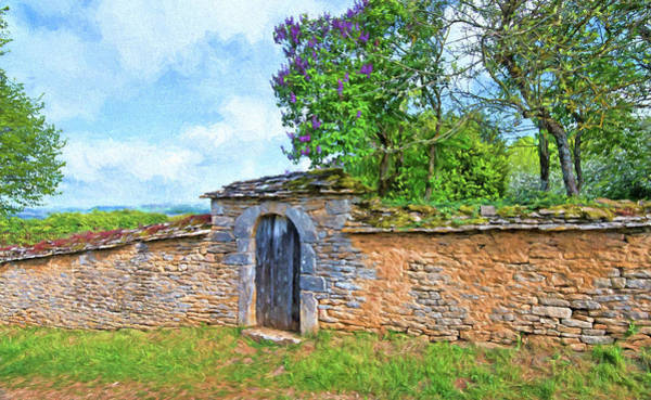 Chateauneuf Photograph - Stone Wall Door, Chateauneuf, Cote-d'or, France by Curt Rush