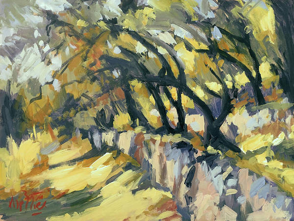 Wall Art - Painting - Stone Wall Olive Grove Terrace by Nop Briex