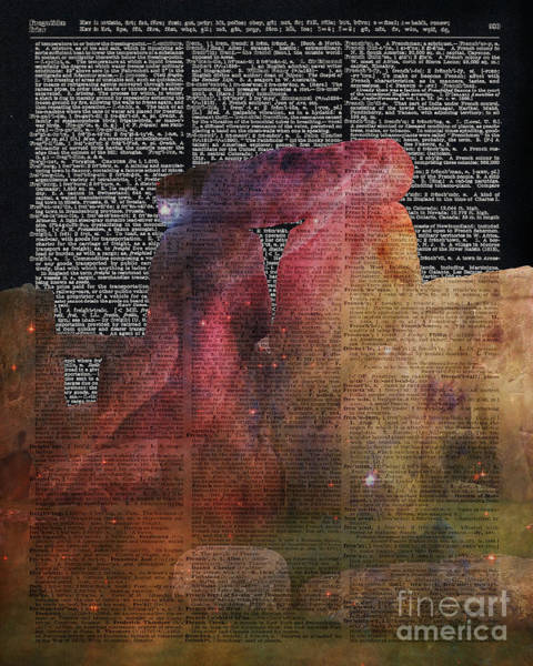 Wall Art - Painting - Stonehenge Magic Place - Dictionary Art by Anna W