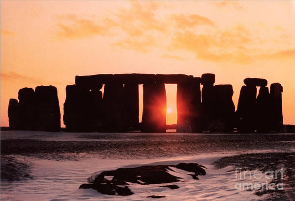 Stone Wall Art - Painting - Stonehenge Winter Solstice by English School