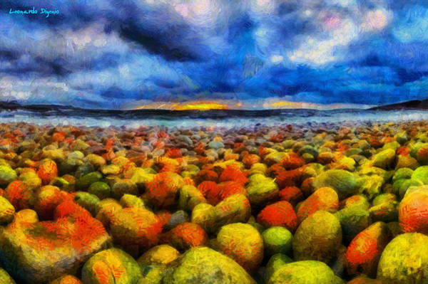 Winter Squash Painting - Stones And Beach - Pa by Leonardo Digenio