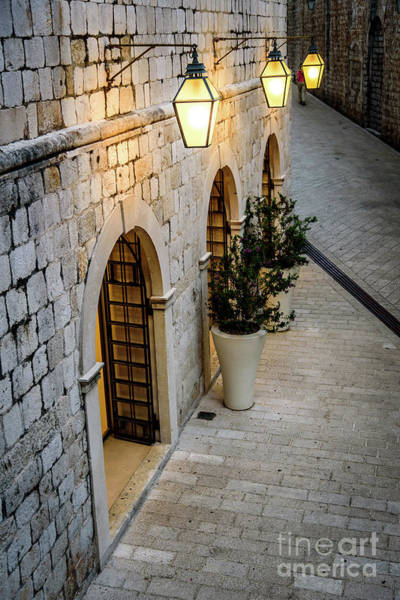 Photograph - Stonework And Lights Of St Dominika Street, Game Of Thrones Kings Landing, Dubrovnik, Croatia by Global Light Photography - Nicole Leffer