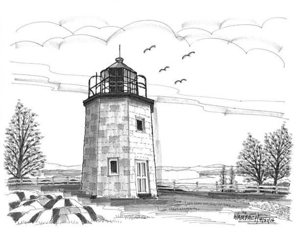 Drawing - Stony Point Lighthouse by Richard Wambach