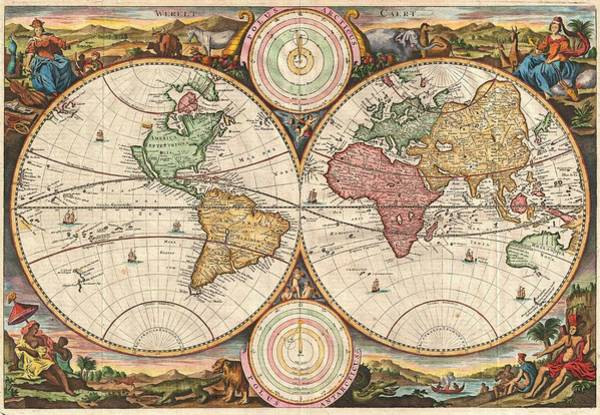 Painting - Stoopendaal 1730 World Map by Stoopendaal